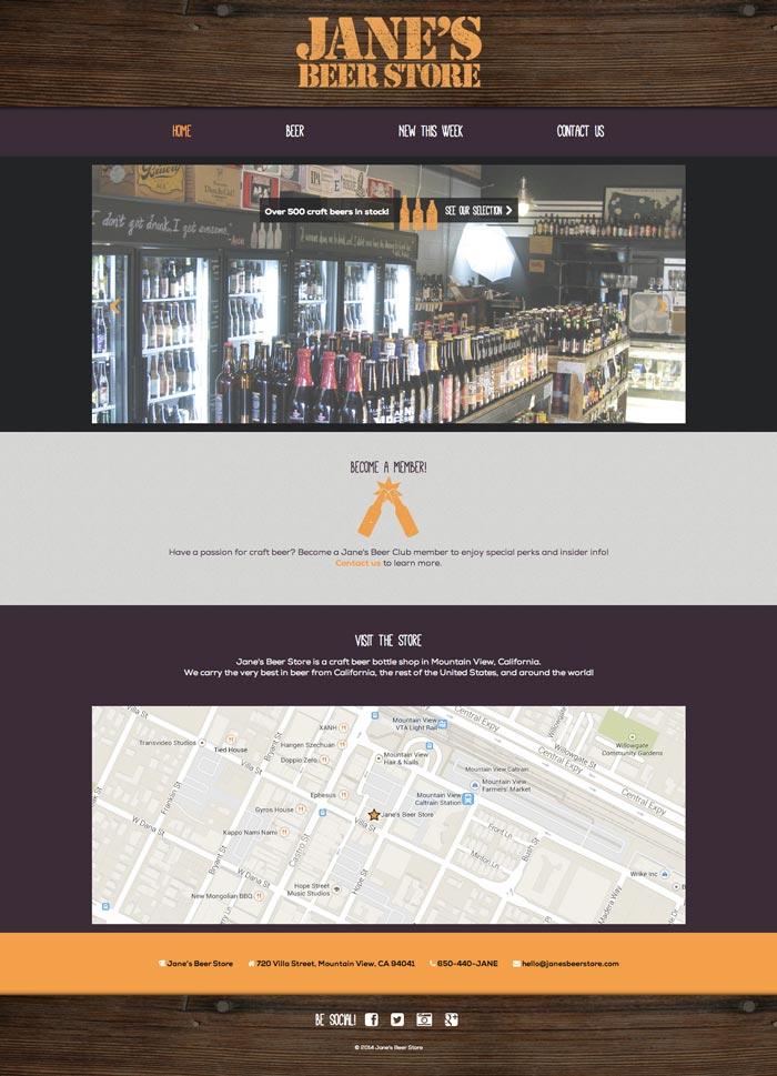 Jane's Beer Store Website - Responsive